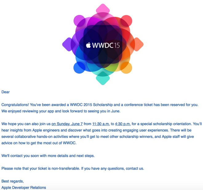 Apple begins to notify fellows who will go to WWDC 2015