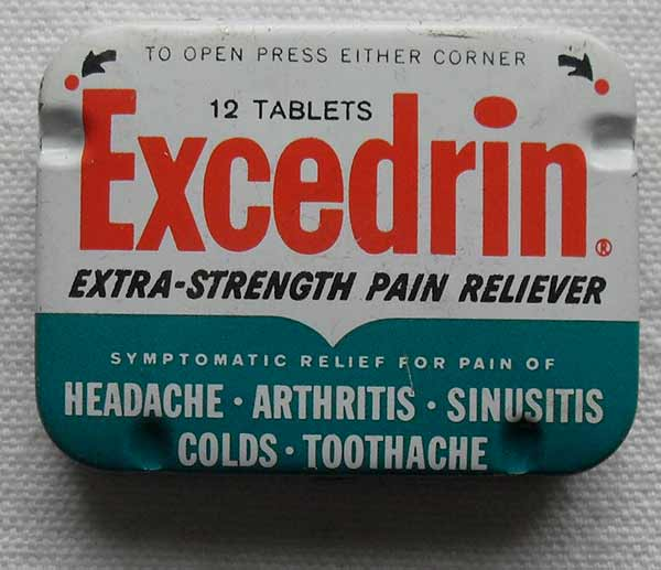 Excedrinas, analgésico, dolor de cabeza, artritis, sinusitis, resfriados, dolor de muelas