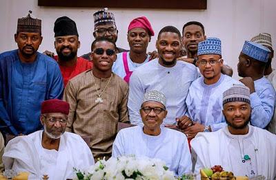 Buhari breaks Ramadan Fast with Nigerian Entertainers (Photos)