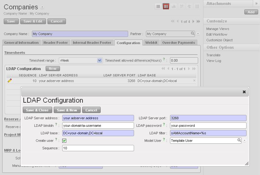 OpenERP Management System: Configuring LDAP authentication with