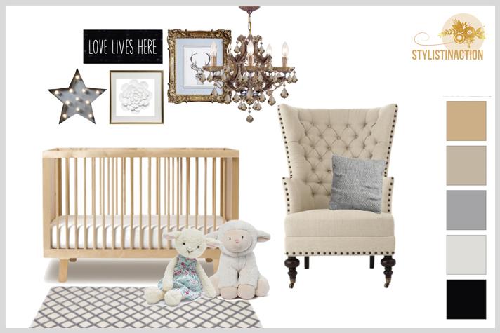 Ideas para cuartos de bebes no tradicionales. Estilo Restoration Hardware para un bebe con mucha onda