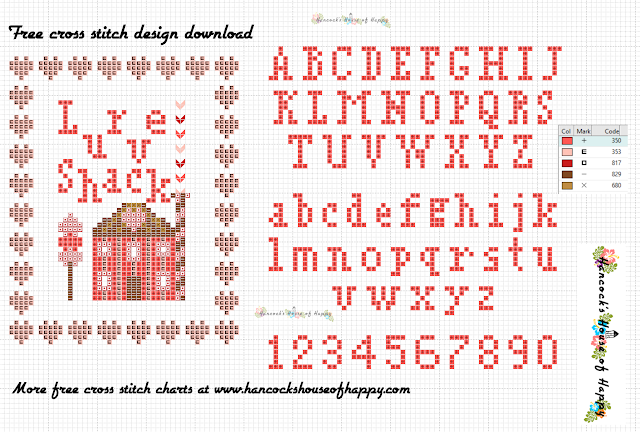 Free Cross Stitch Font for Valentines with Little Cross Stitch House Sampler