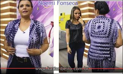 Videoaula da Noemi Fonseca ensinando colete de crochê