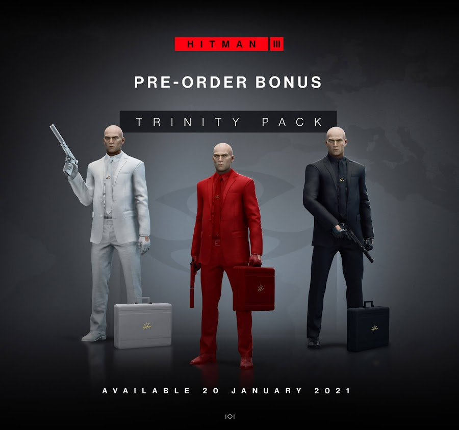hitman 3 pre-order bonus trinity pack suit briefcase weapon inventory items classic gold insignia stealth action-adventure game io interactive pc playstation 4 ps4 playstation 5 ps5 xbox one xb1 xbox series x xsx world of assassination trilogy
