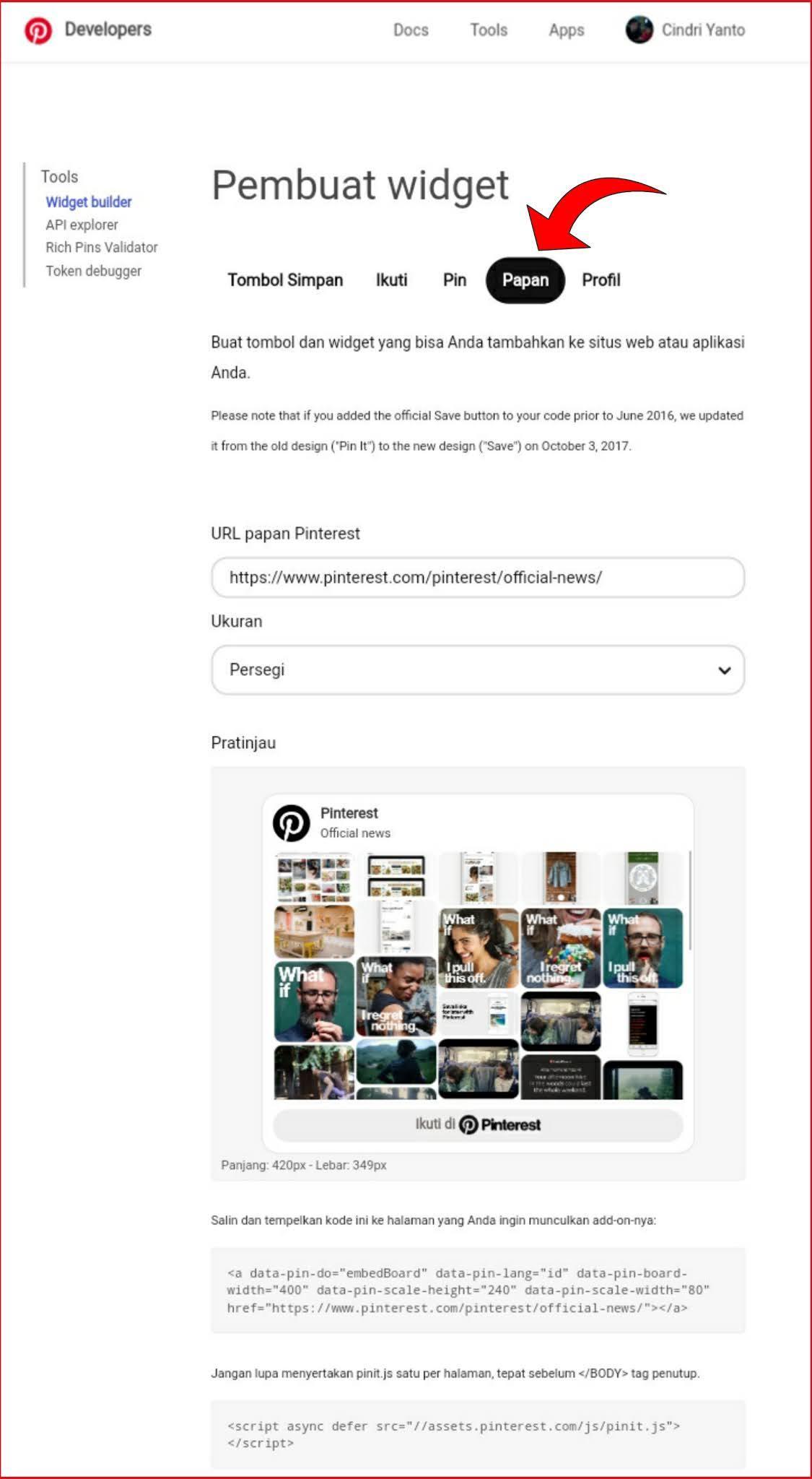 cara memasang pin atau papan pinterest di postingan blog