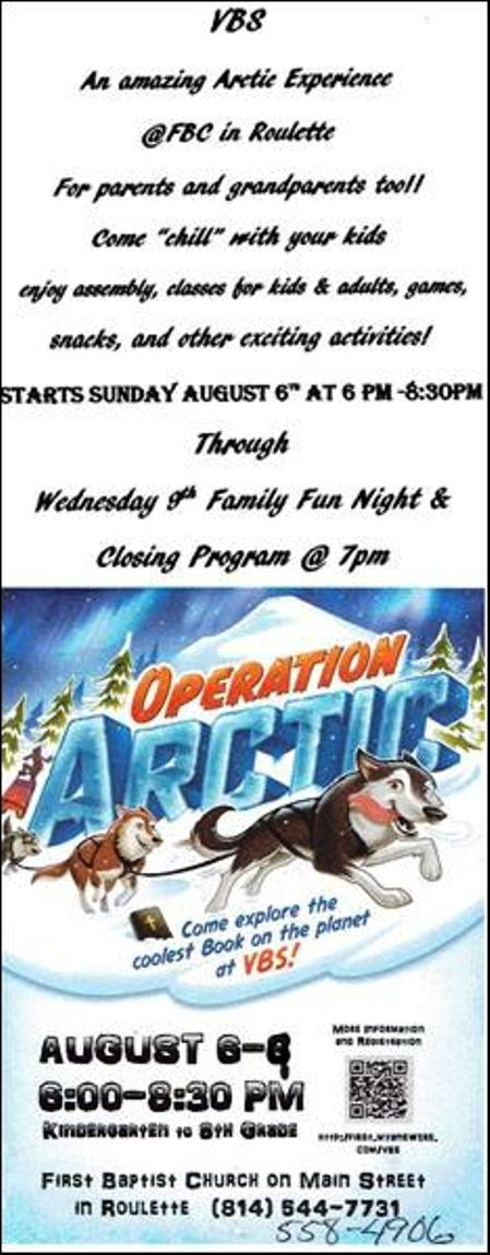 8-6/7/8/9 VBS at Roulette Baptist Church