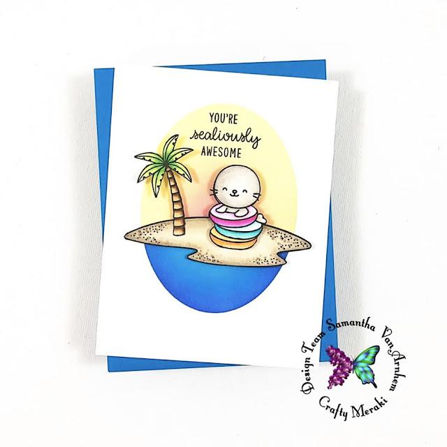 Sunny Studio Stamps: Sealiously Sweet Customer Card by Samantha VanArnhem