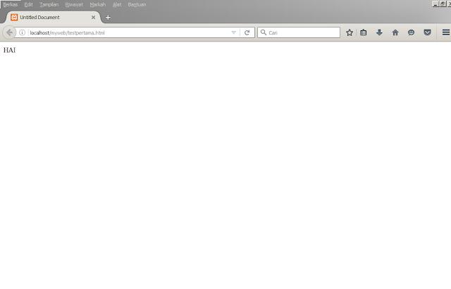 menampilkan hasil kerja dari dreamweaver melalui browser