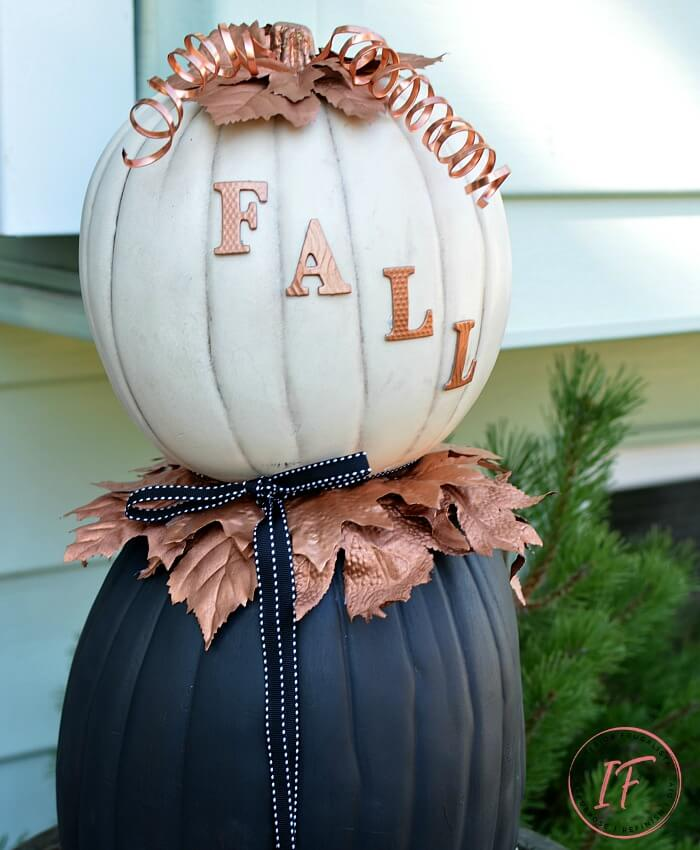 Faux Pumpkin Fall Topiary Stacked Pumpkin Decor
