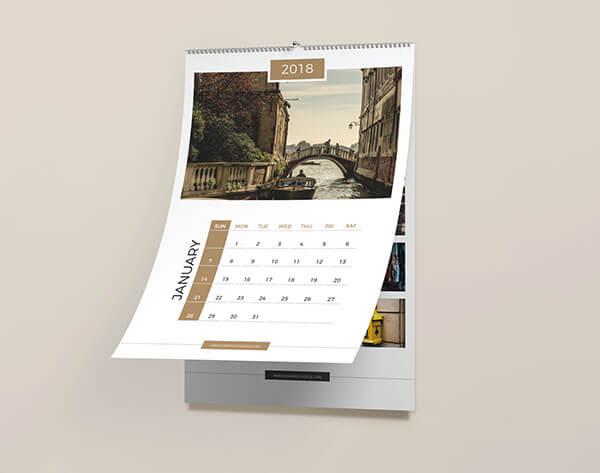 Mockup PSD Kalender 2019 Terbaru - Free Wall Calendar Mockup