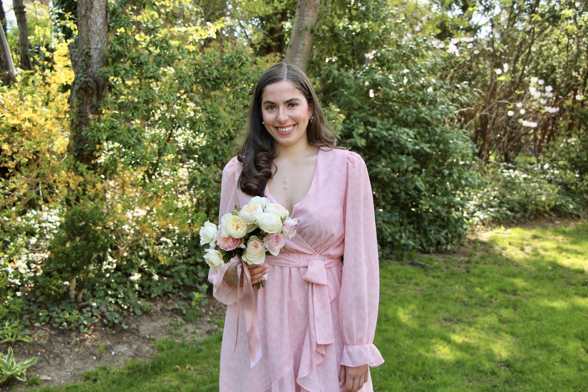 Pink wrap dress, rose bouquet, curly hair, wedding guest dress, baby shower dress, bridal shower dress