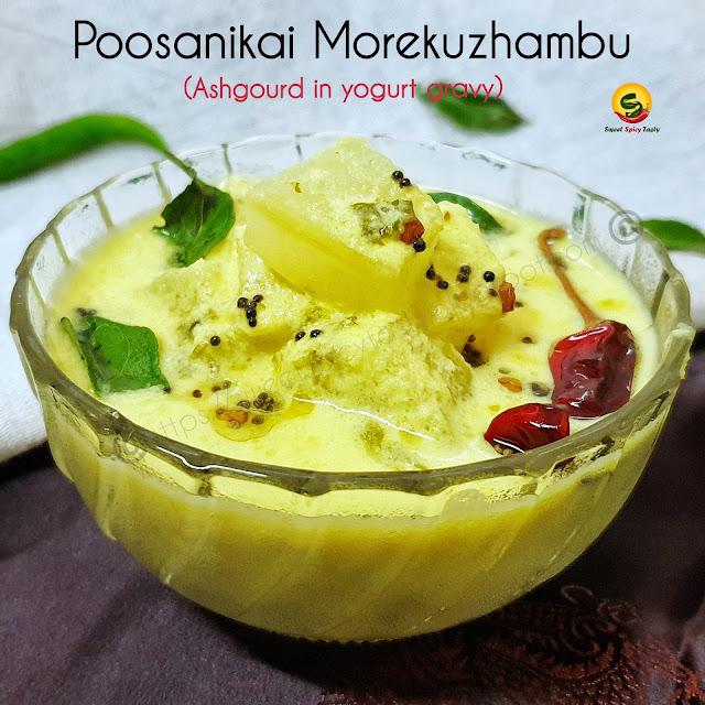 Morkuzhambu /Mor kulambu / Mor kolambu is a flavorful curry made out of yogurt /dahi and freshly ground coconut masala.  This South indian delicacy  is very rich in calcium and vitamin C . Poosnikaai morekuzhambu , poosani mor kuzhambu , elavan mor kootu , elavan mor kootaan , mor kolambu, more kozhambu, how to make tamil nadu style majjige huli , majjiga pulusu