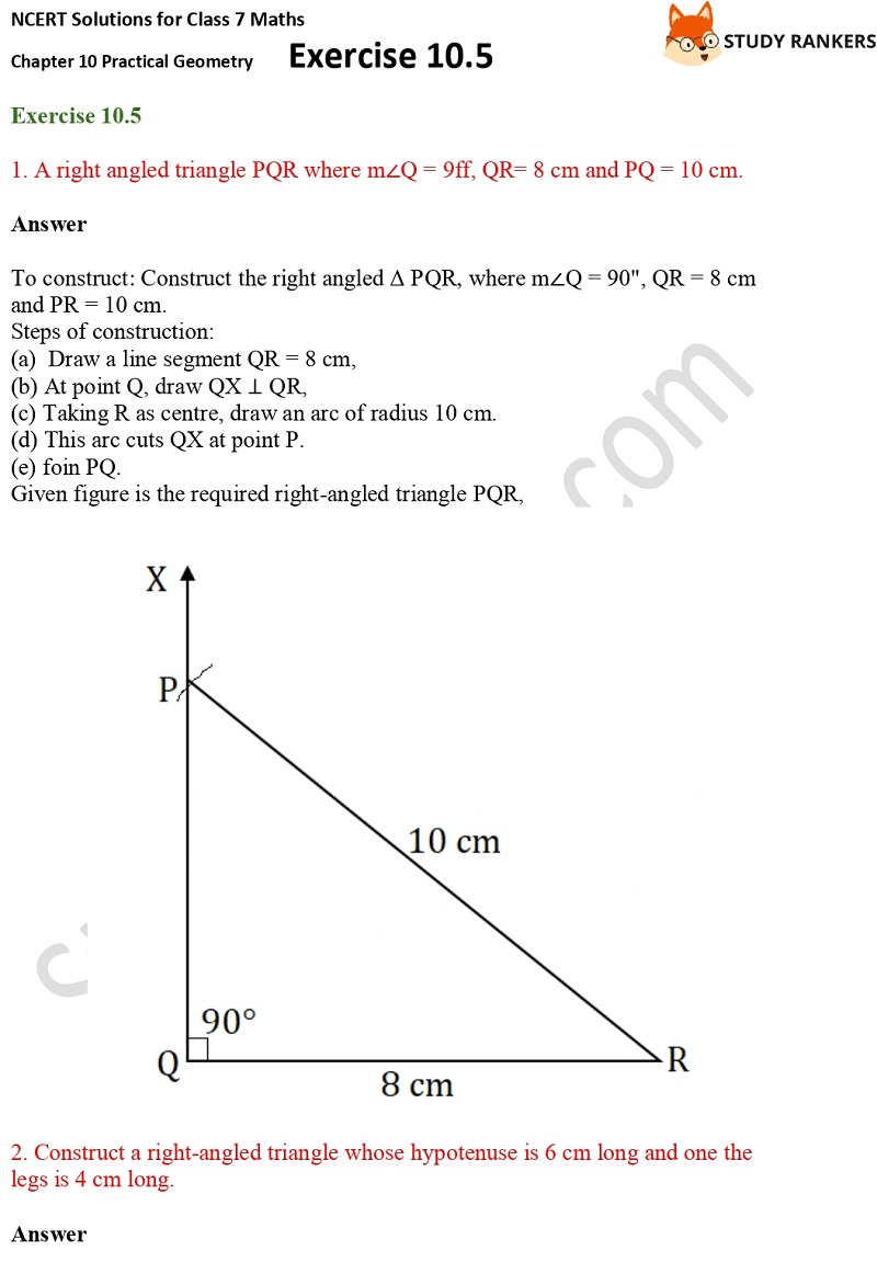 NCERT Solutions for Class 7 Maths Ch 10 Practical Geometry Exercise 10.5 1