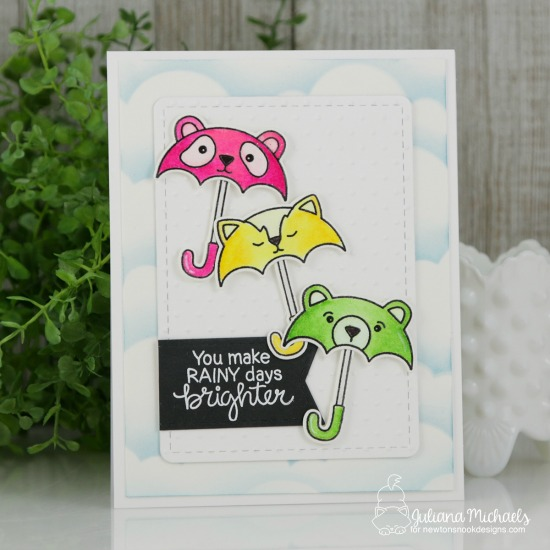 Umbrella Animals Card by Juliana Michaels | Umbrella Pals Stamp Set and Cloudy Sky Stencil by Newton's Nook Designs #newtonsnook #handmade