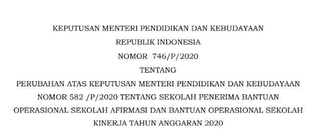 kepmendikbud nomor 746/p/2020 tentang perubahan sekolah penerima bos afirmasi dan bos kinerja tahun 2020 pdf tomatalikuang.com