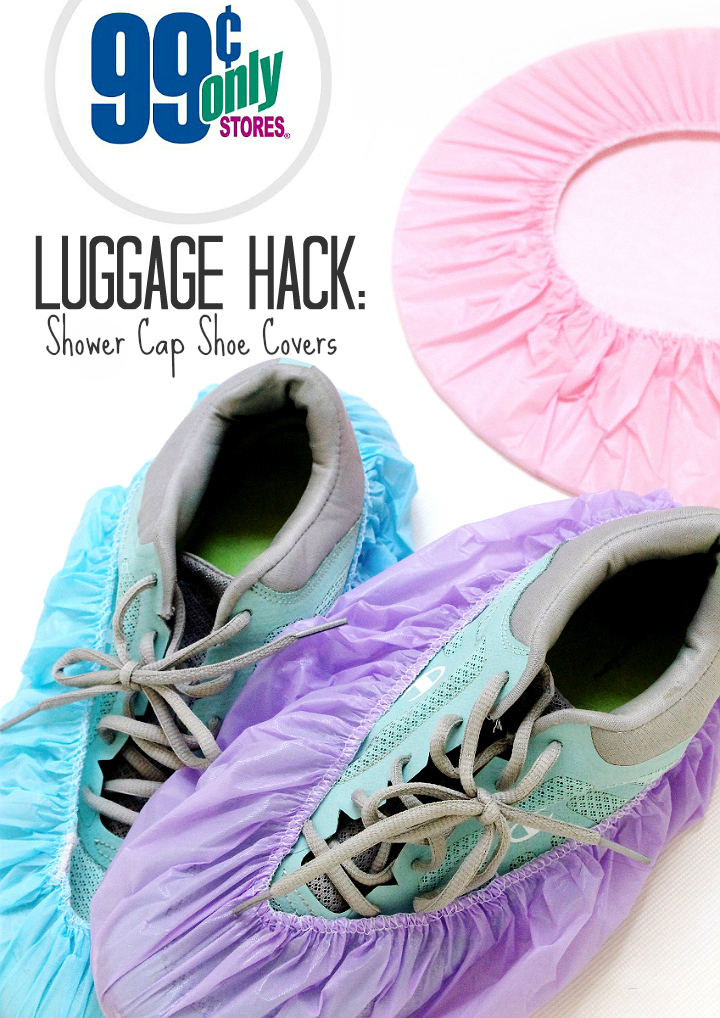 Use shower caps to pack and store dirty shoes while traveling. #99YourSummer with these simple Summer Vacation Hacks that'll save you dollars and headaches! #DoingThe99 #AD