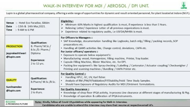 Lupin Pharma   Walk-in for Multiple Departments at Indore on 13 & 14th Mar 2021