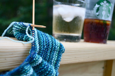 ocean stripes shawl knitting, cocktails and coffee on the deck