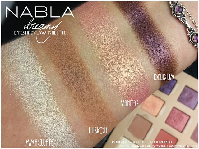 dreamy eyeshadow palette nabla cosmetics ombretti swatches