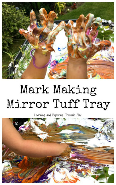 Mark Making Mirror Tuff Tray using Shaving Cream, Paint and Nature.