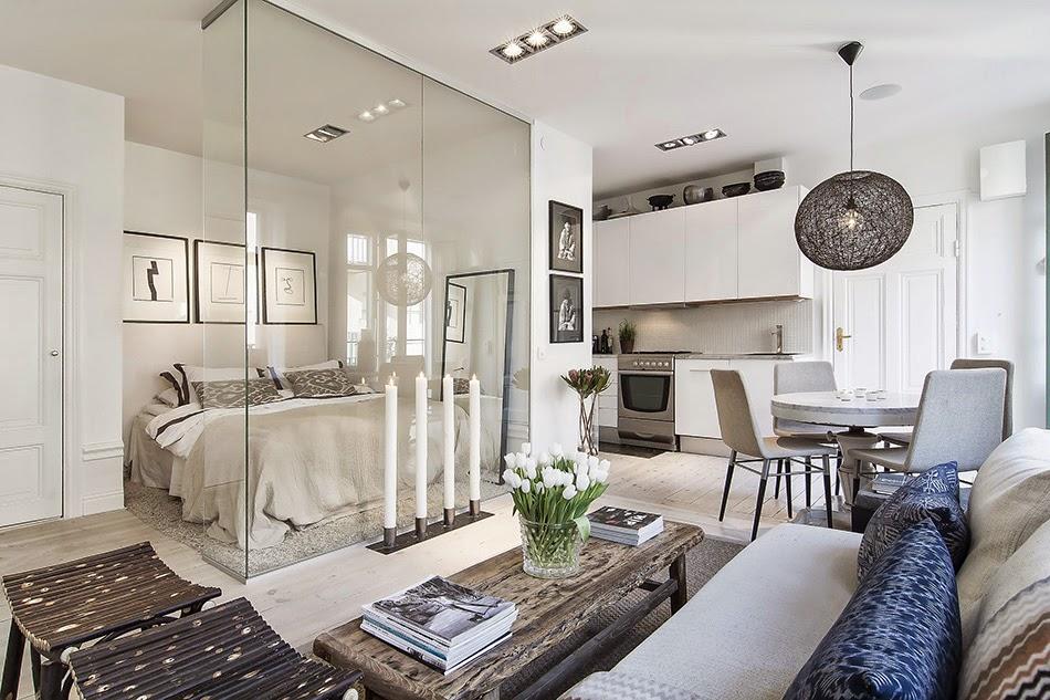 desain interior apartemen kecil disulap menjadi hunian mewah dengan kamar berdinding kaca 1