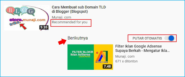 Video Rekomendasi atau Video Selanjutnya