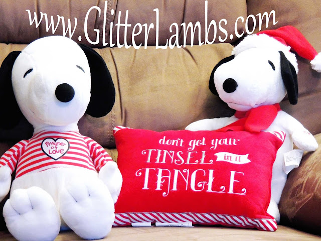 Snoopy wearing santa hat Stuffed Animal Singing Dancing Home Depot Christmas Throw Pillow Kohls Dont Get your tinsel in a tangle