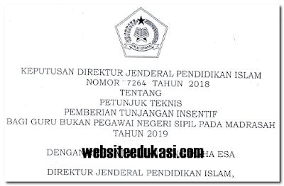Juknis Insentif Guru Non PNS Madrasah Tahun  Juknis Insentif Guru Non PNS Madrasah Tahun 2019