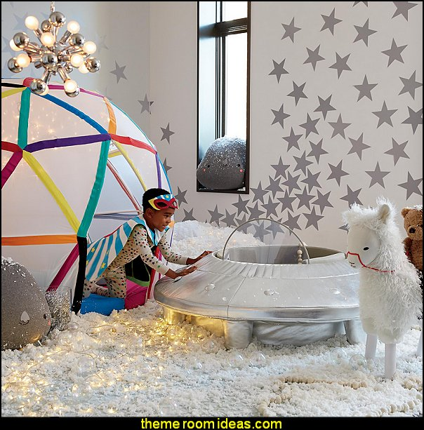 Non-Flying Saucer alien playroom decorating ideas outer space Non-Flying Saucer kids space themed playrooms decorating planets galaxy bedrooms