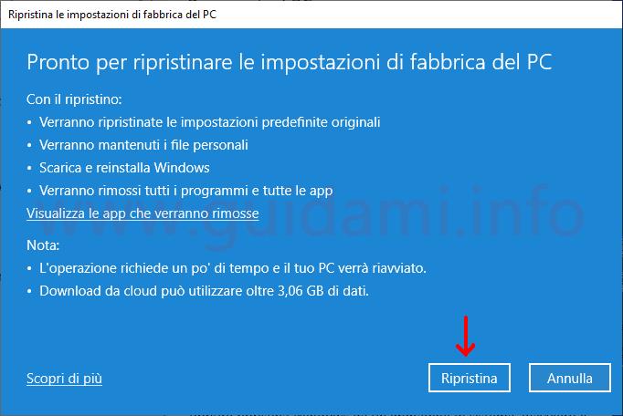 Windows 10 avviare ripristino PC con Download da cloud