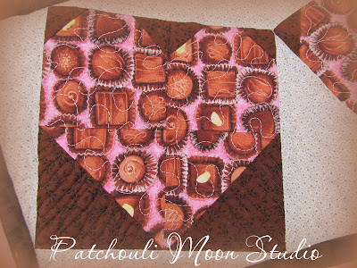 Close-up of Chocolate Hearts Mug Rug
