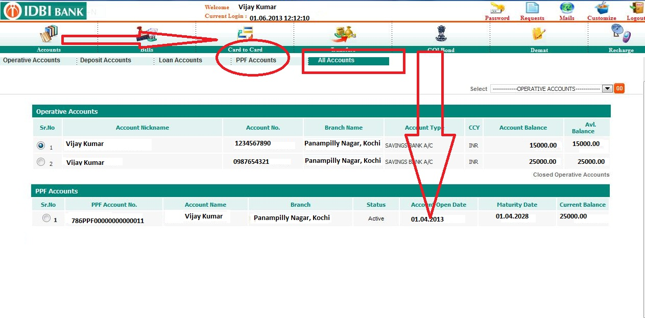 how to get ppf account statement online idbi bank