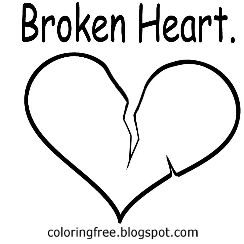 Valentines Broken Heart Outline Printable Coloring Pages For Teenagers