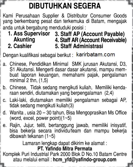 Lowongan Kerja PT. Yafindo Mitra Permai (Ditutup 10 juni 2017)