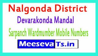 Devarakonda Mandal Sarpanch Wardmumber Mobile Numbers List Part I Nalgonda District in Telangana State