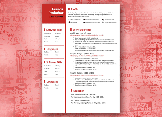 Creative in red line Creative resume template