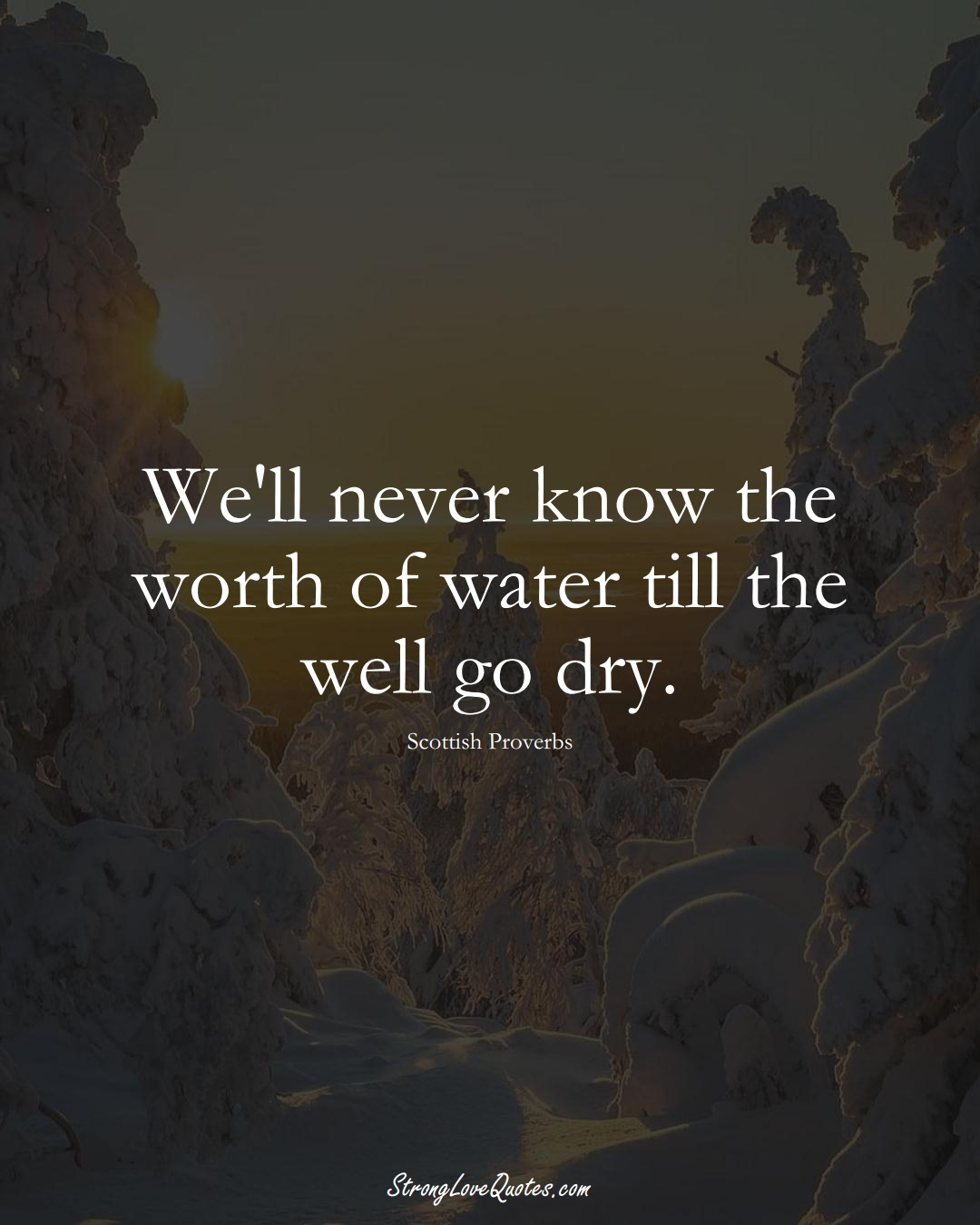 We'll never know the worth of water till the well go dry. (Scottish Sayings);  #EuropeanSayings