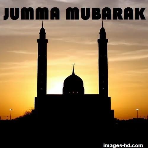 mosque at sunrise in background as Jumma Mubarak DP