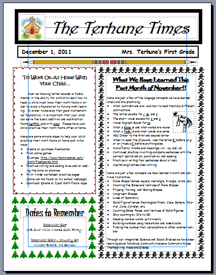 Teaching with terhune monthly newsletters for Class newsletter ideas