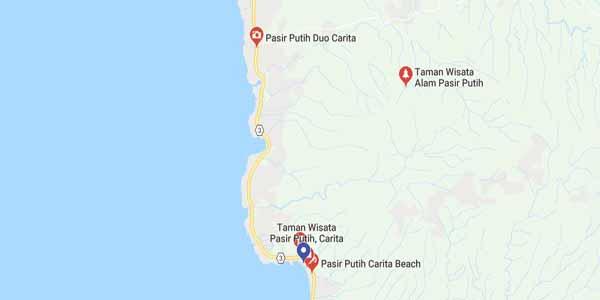 Lokasi Pantai Carita Pasir Putih