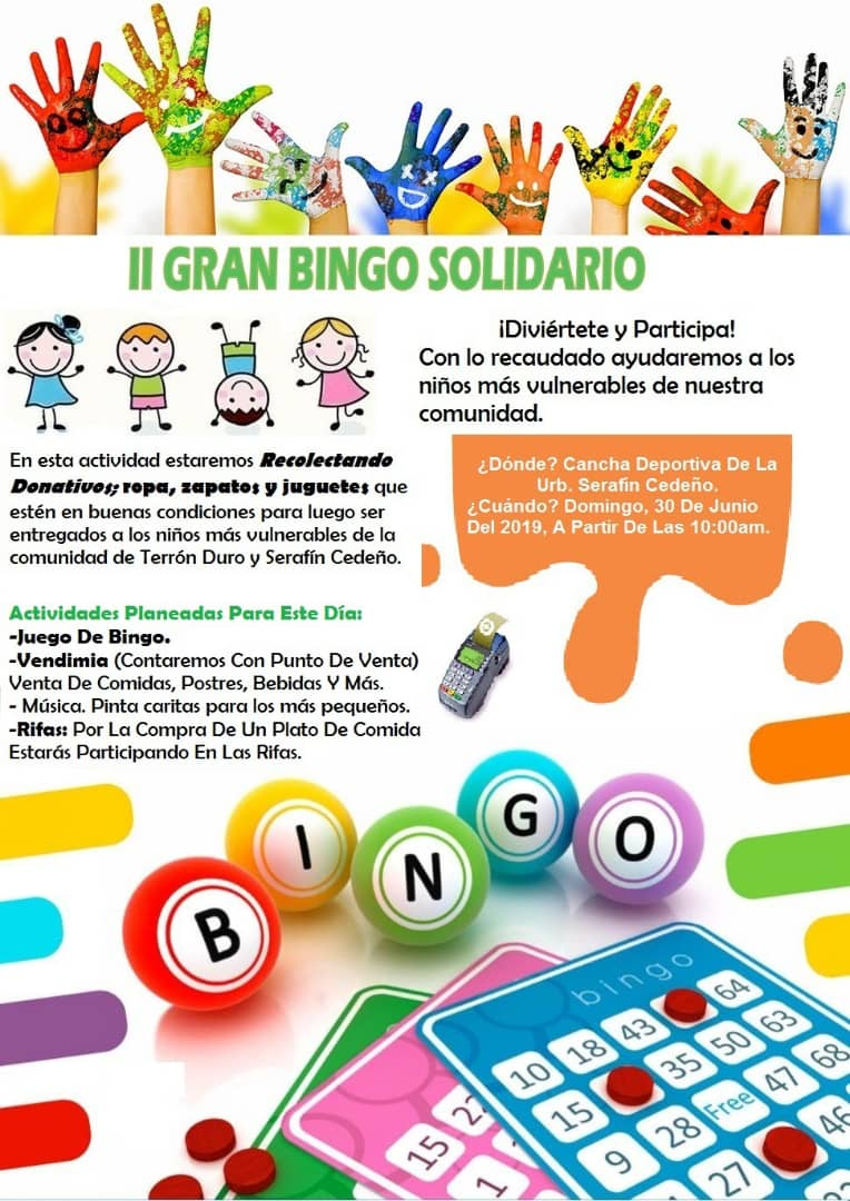 APURE: Gran Bingo solidario para domingo 30 de junio en cancha deportiva de Urbanización Serafín Cedeño.