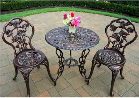 Merveilleux Rose 3 Piece Bistro Patio Set For $69.00 Shipped