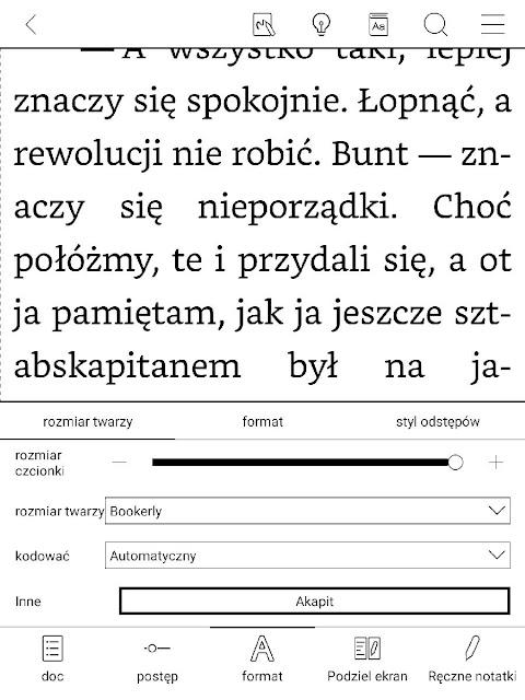 Największa czcionka, jaką można ustawić przy pomocy suwaka w aplikacji Neo Reader 3.0 na czytniku Onyx Boox Nova 2