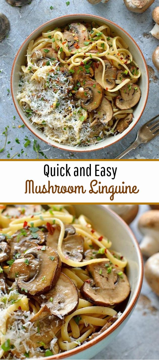 Easy Mushroom Linguine #pasta #vegetarian