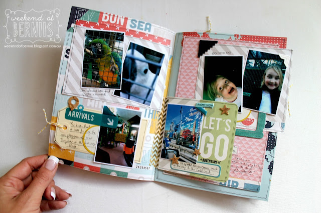 """ Let's be Adventurous"" mini album by Bernii Miller using Pink Paislee Atlas collection."