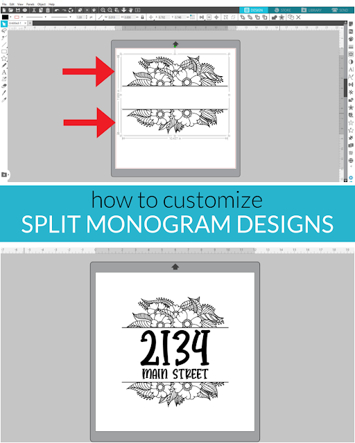 silhouette 101, silhouette america blog, split monogram, monogram, custom designs