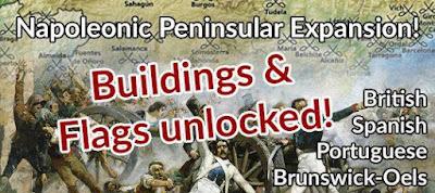 Peninsular Napoleonics Not-Kickstarter, Buildings and Flags Unlocked from Pendraken Miniatures