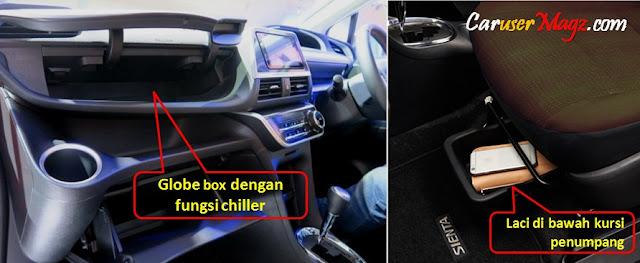 Fitur ruang penyimpanan dengan pendingin dan laci di bawah kursi penumpang depan pada Toyota Sienta