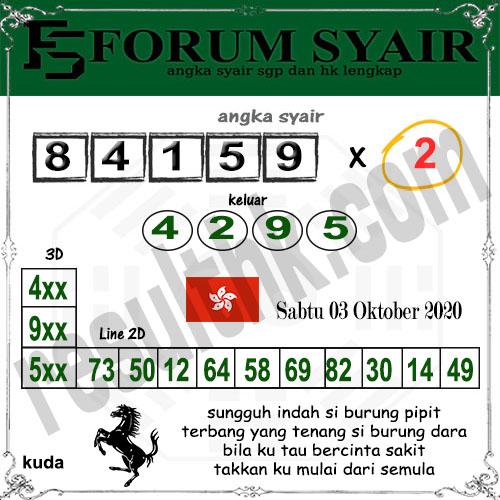 Forum Syair HK Sabtu 03 oktober 2020