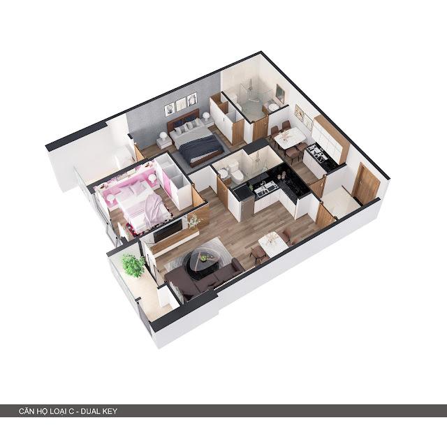 Phối cảnh 3D căn hộ loại C 2 trong 1 có 2 phòng ngủ + 2 bếp
